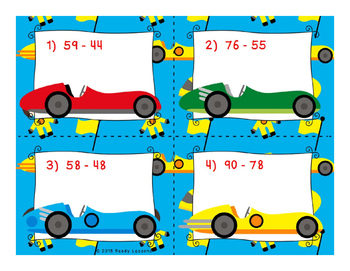 Two Digit Subtraction Task Cards