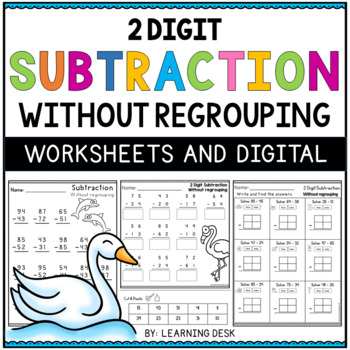 2 Digit Subtraction Without Regrouping Worksheets by Learning Desk