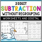 2 Digit Subtraction Without Regrouping Worksheets Google Slides