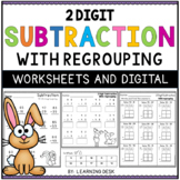 2 Digit Subtraction With Regrouping Worksheets Google Slides   Distance Learning