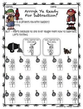 2 Digit Subtraction - Pirate Style!