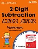 2 Digit Subtraction Across Zeros Worksheets