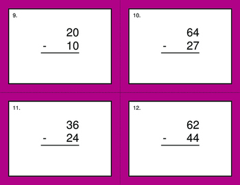 2-Digit Subtraction BINGO and Task Cards