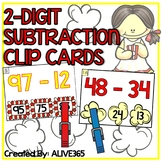 2-Digit Subtraction CLIP CARDS (without regrouping) | **popcorn theme**