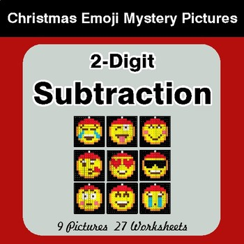 2-Digit Subtraction - Christmas EMOJI Color-By-Number Mystery Pictures
