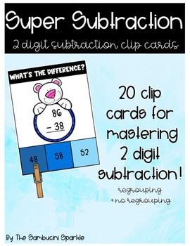 2 Digit Subtraction Clip Cards