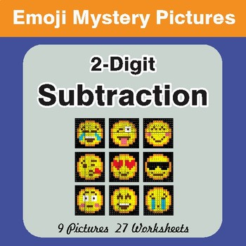 2 Digit Subtraction Color-By-Number EMOJI Math Mystery Pictures