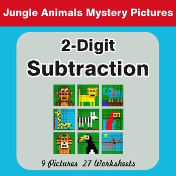2-Digit Subtraction - Color-By-Number Math Mystery Pictures