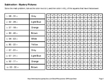 2-Digit Subtraction - Color-By-Number Math Mystery Pictures - Cats Theme