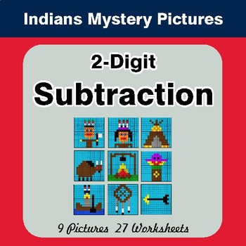 2-Digit Subtraction - Color-By-Number Mystery Pictures