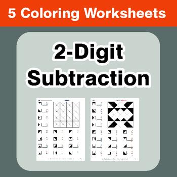 2-Digit Subtraction - Coloring Worksheets