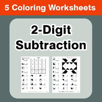 2-Digit Subtraction - Coloring Worksheets