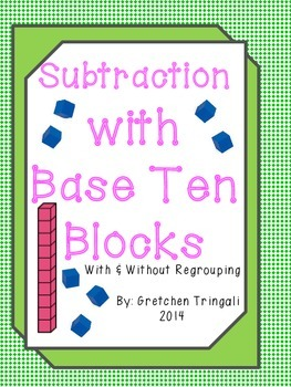 2 digit subtraction drawing base ten blocks worksheets by gretchen tringali. Black Bedroom Furniture Sets. Home Design Ideas