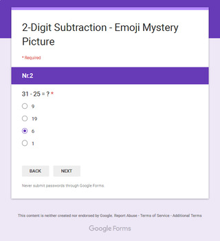2-Digit Subtraction - EMOJI Mystery Picture - Google Forms