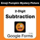 2-Digit Subtraction - EMOJI PUMPKIN Mystery Picture - Goog