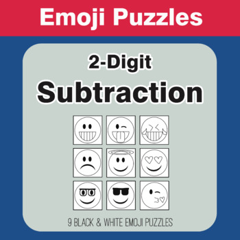 Subtraction: 2-Digit - Emoji Picture Puzzles