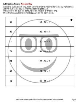 Subtraction: 2-Digit - Emoji Picture Puzzles