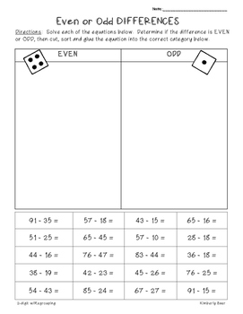2-Digit Subtraction Even/Odd Sorting Activity -- 2 Leveled Worksheets