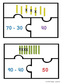 2 Digit Subtraction Game Puzzles Subtracting Multiples of 10 1st Grade 1.NBT.6