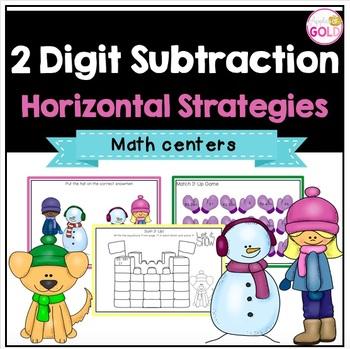 2 Digit Subtraction - Horizontal Strategies - Math Centers