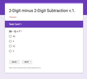 2-Digit Subtraction - Interactive Digital Task Cards - Google Forms