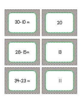 2 Digit Subtraction Memory Game