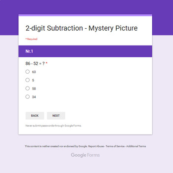 2-Digit Subtraction - Monster Mystery Picture - Google Forms