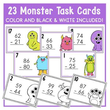 2 Digit Subtraction Monster Task Cards