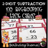 2-Digit Subtraction NO Regrouping Task Cards (Birthday Theme)