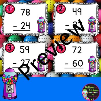 2 Digit Subtraction NO regrouping (Gumball theme) Task Cards