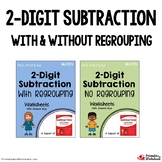 Double Digit Subtraction With Borrowing, Without Regrouping Worksheets