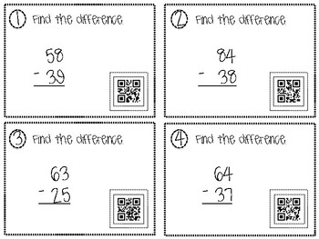 2 Digit Subtraction QR Task Cards