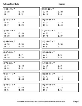 2-Digit Subtraction Quiz - Test - Assessment - Worksheet