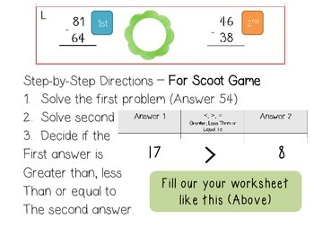2-Digit Subtraction (REGROUPING) Scoot with Comparing! [CC Aligned]