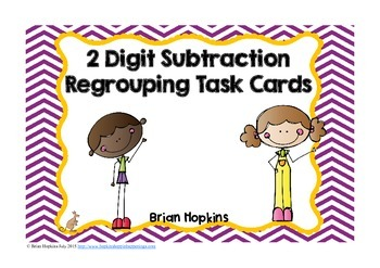 2 Digit Subtraction Regrouping Task Cards