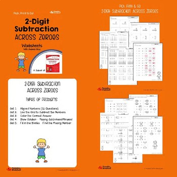 2 Digit Subtraction Regrouping, With Regrouping, Across Zeros