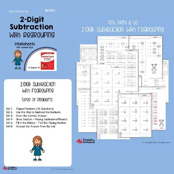 2 Digit Subtraction Worksheets With and Without Regrouping, Across Zeros