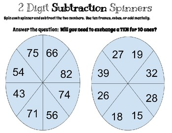 2 Digit Subtraction SPINNERS  (2.NBT.5)