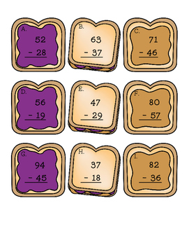 2 Digit Subtraction Sandwiches with Regrouping