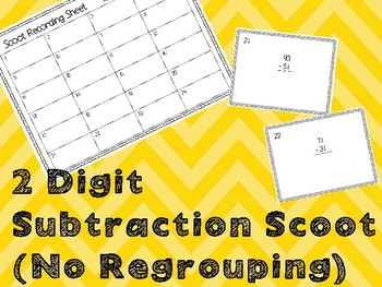 2 Digit Subtraction Scoot (No Regrouping)