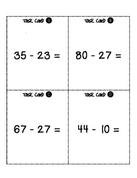 2-Digit Subtraction Scoot - With and Without Regrouping (includes word problems)