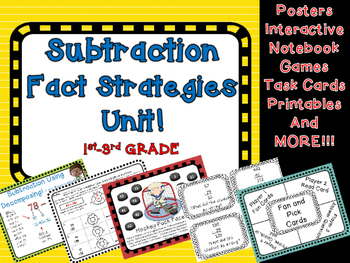 Subtraction Strategies Unit TWO DIGIT Decomposing Counting Up & Number Lines!