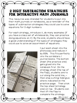 2 Digit Subtraction Strategies for the Math Interactive Journal