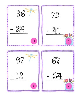 2 Digit Subtraction Task Cards