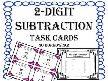 2 Digit Subtraction Task Cards. No Borrowing.  Math Centers.