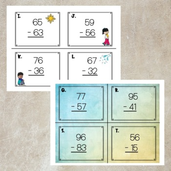 2 Digit Subtraction Task Cards- No regrouping