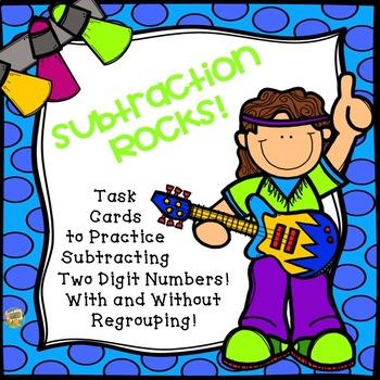 2 Digit Subtraction Task Cards - Subtraction Rocks!