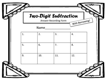2 Digit Subtraction Task Cards.  WITH Borrowing! Math Centers