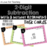 2 Digit Subtraction With and Without Regrouping Task Cards {Paper + Digital}