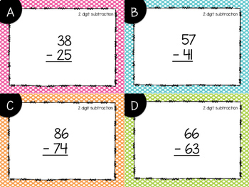 2 Digit Subtraction With & Without Regrouping Task Cards {Print & Go + Digital}